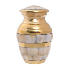 Mother of Pearl Keepsake Urn in Gold of Brass for Token Ashes