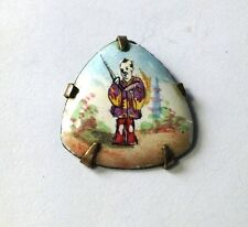 Antique Chinese Oriental Enamel on Copper Warrior Pendant