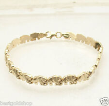 "7"" Baby Elephant Shiny and Satin Stampato Bracelet Real 14K Yellow Gold"