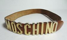 MOSCHINO womens Brown cognac Gold Leather Belt Redwall Sz 40 / xs - small / 26us