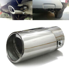Universal Silver Stainless Steel Car Rear Round Exhaust Pipe Tail Muffler Tip