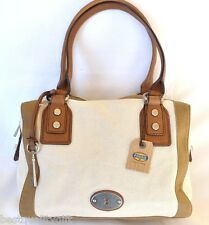 NEW FOSSIL MARLOW NATURAL BEIGE CANVAS,LEATHER SATCHEL,SHOULDER+HAND BAG,PURSE