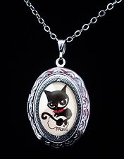 Doom Kitty Ruby Gloom Cat Silver Children's Locket and Necklace Goth Steampunk