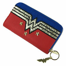 LARGE WONDER WOMAN GLITTER LOGO ZIPPED PURSE RETRO WALLET COIN NOTES DC COMICS
