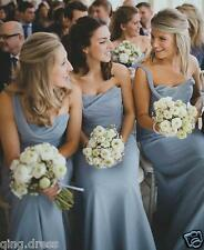 Dusty Blue Bridesmaid Dresses One Shoulder Ruched Chiffon Long Prom Dress 4-20