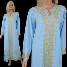 Vintage 70s DASHIKI MAXI DRESS Casino Grecian Goddess Caftan Metallic Soutache