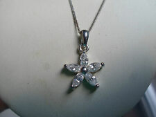 "925 Silver  Necklace 17"" With Flower Pendant Great Gift Idea Xmas, Birthday"