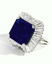 9ct Blue Asscher Cut Engagement ring Baguette Halo 925 Sterling Silver White