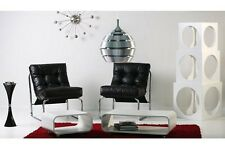 Poltrona lounge design anni 70 bianca nera imbottita armchair sessel bianco nero