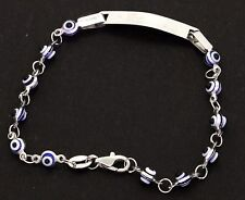 14K white gold high fashion enamel Evil Eye engravable ID center link bracelet