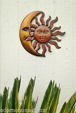 Metal Moon Sun Decor Garden Rustic Art Indoor Outdoor Patio Wall Sculpture