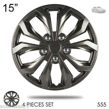 "New 15"" Hubcaps ABS Gunmetal Finish Performance Wheel Covers Set For Toyota 555"