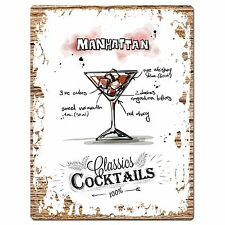 PP0673 Cocktails Manhattan Chic Plate Sign HomeBar Store Cafe Restaurant  Decor