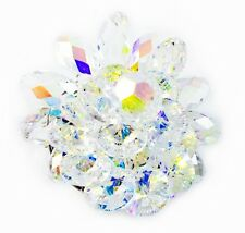 BROOCH Swarovski ELMT AB Clear Crystal PIN fashion Wedding Flower Sliver plated