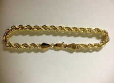 Mens Womens 10k Yellow Gold Bracelet Hollow Rope Chain 4mm 7 inch Italian Made
