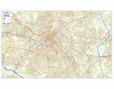 Postcode City Sector Maps 8 Manchester - Laminated Wall Map For Business