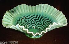 Jefferson Green Opalescent Swirling Maze Bowl dish Antique 1902