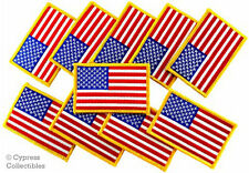 LOT of 10 AMERICAN FLAG EMBROIDERED PATCH United States IRON-ON USA MILITARY new