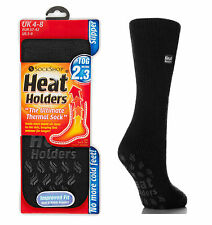 NEW Unisex Jet Black Thick Warm Thermal Heat Holders Slipper Socks 4-8, 37-42 eu