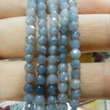 Natural 6mm Aquamarine Faceted Gems Round Loose Beads 15""