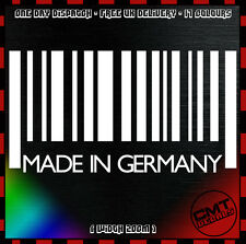 Made In Germany Barcode Car / Van Decal Bumper Novelty Sticker BMW - 17 Colours