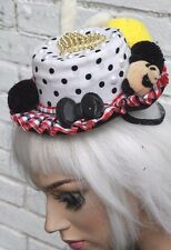 Kawaii lolita mini chapeau haut or coeur rockabilly pinup mad hatter pom pom