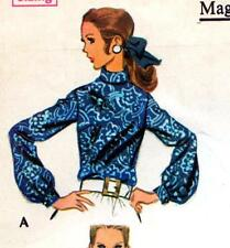 "Vintage 60s BLOUSE SET Sewing Pattern Bust 34"" Size 10 Four Styles SHIRT Tops"