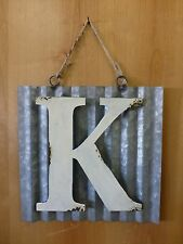 "10"" CORRUGATED INDUSTRIAL METAL SIGN LETTER ""K"" WHITE vintage rustic wall decor"