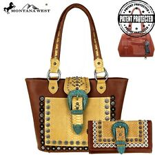 Montana West Handbag and  Wallet SET Buckle collection Western Brown
