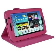 """rooCASE Samsung Galaxy Tab 2 Faux Leather Case Cover With Stand Magenta 7"""" New"""