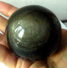 GOLD SHEEN OBSIDIAN SPHERE NATURAL CRYSTAL GEMSTONE 115g 45mm MEXICO st10