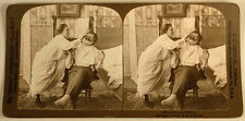 WOMAN IN NIGHTGOWN SHAVING MAN H C WHITE STEREOVEW 1901