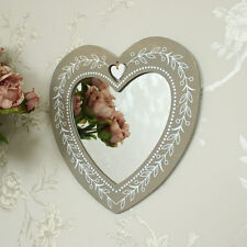Wooden floral heart wall mirror shabby vintage chic bedroom girly gift home