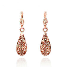 New Antique Style Stunning 18K Rose GOLD Filled Filigree Drop Earrings VINTAGE