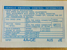 Toyota Corolla AE92 AE93 4AGE Emission & Tune Up Decal