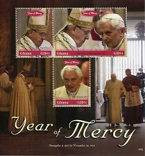 Ghana 2016 MNH Year of Mercy 3v M/S Pope Benedict XVI Frances Popes Stamps