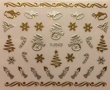 Nail Art 3D Decal Stickers Christmas Tree Snowman Santa Hat Snowflake YJ049
