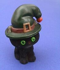 Hallmark MERRY MINIATURES Halloween 1978 BLACK CAT Vtg WITCHES Hat FIGURINE