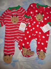 nwt lot 2 Carters fleece Christmas reindeer footed romper pj baby boy or girl NB