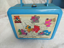 NOSY BEARS LUNCH PAIL 1988 Blue Plastic with Thermos ALADDIN Vintage