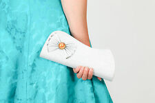 Vintage style silver shimmer clutch bag evening bag with large bow detail