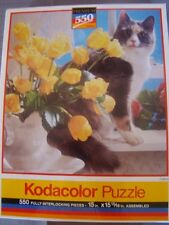 Kodacolor Puzzle 550 pc Calico Cat Yellow Flowers Roses Tulips NEW Factory Seal