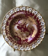 "Royal Crown Derby ""PARADISE""  Maroon BREAD & BUTTER Plate"
