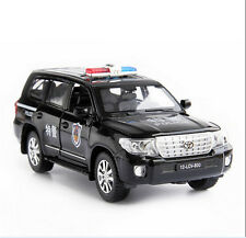 1:32 Black Diecast Car Toyota Land Cruiser V8 Police Car With Light&Sound Gift