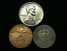 AU 1943 Steel Cent + Nazi Coin WW2 3rd Reich German US Lot