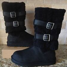 UGG Cassidee Tall Black Leather / Knit / Sheepskin Boots US 7 Womens 1007691