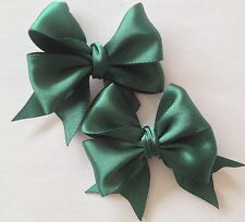 Pair of Satin Ribbon Hair Bow small Alligator Clips Bridesmaid School