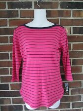 NWT Ladies XS Knit Top Magenta Navy Blue Striped 3/4 Sleeves Boat Neck Style&Co