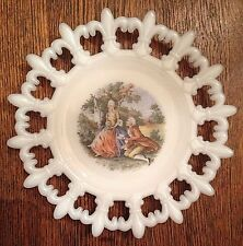 Westmoreland Milk Glass Plate with Fleur-de-lis Edge Victorian Couple