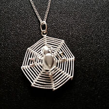 925 Sterling Silver Necklace with spider in web pendant gift uk Halloween